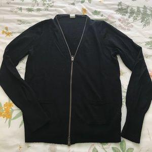 Black Zippered J Crew Cardigan